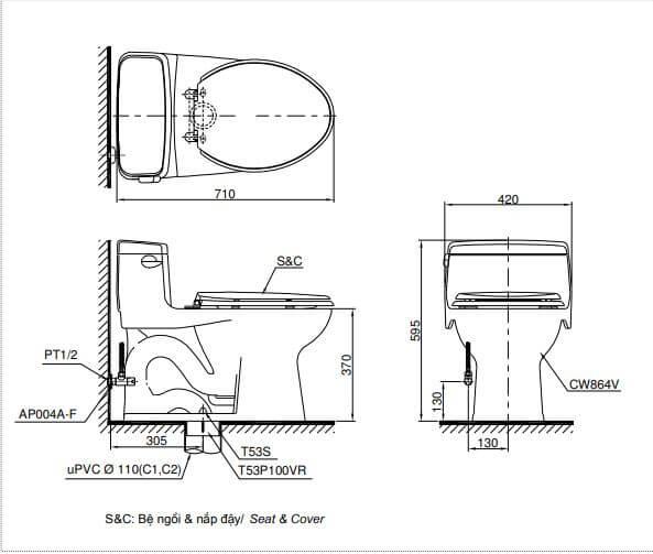 Bản Vẽ Kỹ Thuật Bàn Cầu ToTo 1 Khối MS864T8