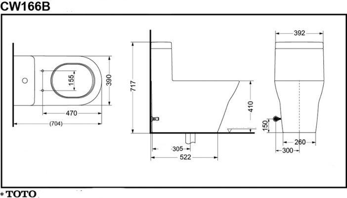Bản Vẽ Kỹ Thuật Bệt Cầu 1 Khối TOTO CW166B#XW