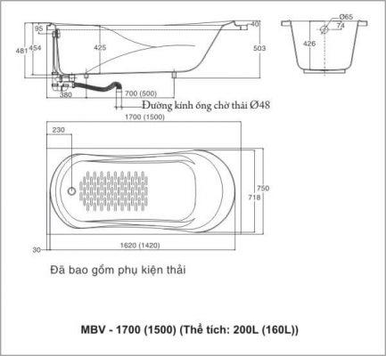 Bản Vẽ Kỹ Thuật Bồn Tắm INAX MBV_1500 GALAXY