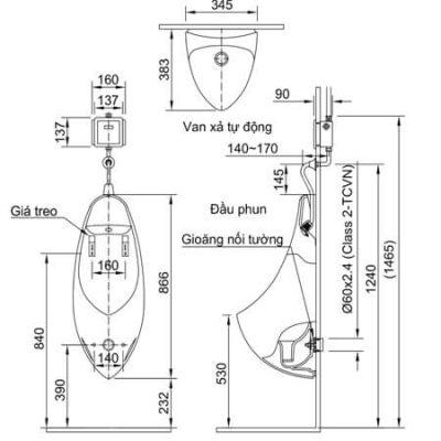 Bản Vẽ Kỹ Thuật Bồn Tiểu Nam INAX U-417V
