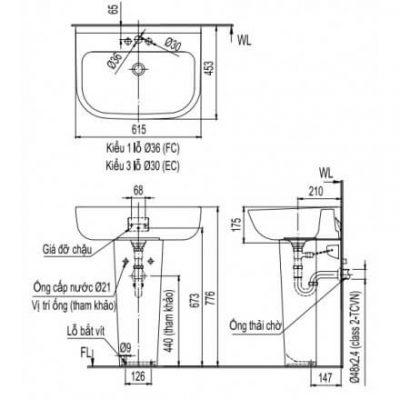 Bản Vẽ Kỹ Thuật Chậu Rửa Mặt Lavabo Inax L-298V/L298VD