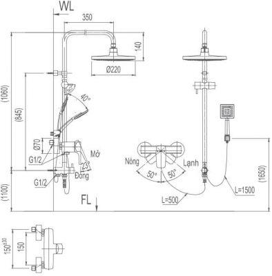 Bản Vẽ Kỹ Thuật Sen Cây Tắm INAX BFV-50S_5C