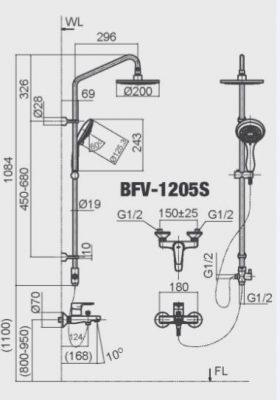 Bản Vẽ Kỹ Thuật Sen Cây Tắm INAX BFV_1205S