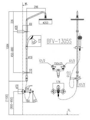 Bản Vẽ Kỹ Thuật Sen Cây Tắm INAX BFV_1305S