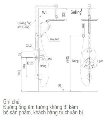 Bản Vẽ Kỹ Thuật Sen Tắm Âm Tường BFV_71SEC