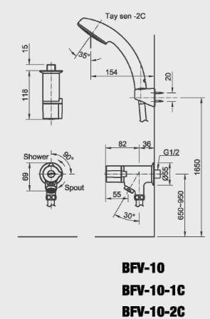 Bản Vẽ Kỹ Thuật Sen Tắm Lạnh INAX_10-1C