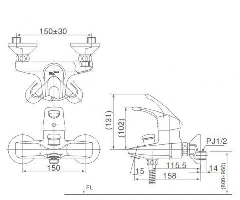 Bản Vẽ Kỹ Thuật Sen Tắm Nóng Lạnh INAX BFV_203S