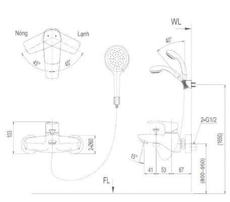 Bản Vẽ Kỹ Thuật Sen Tắm Nóng Lạnh INAX BFV_213S