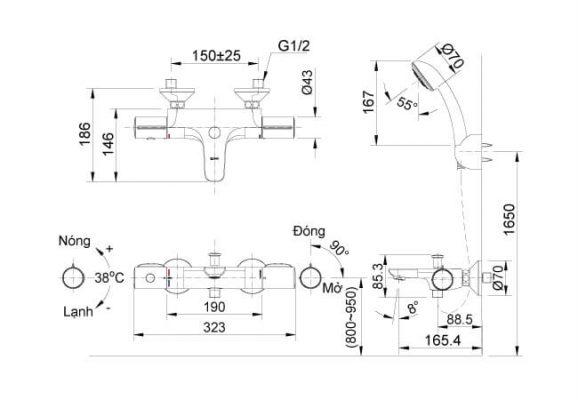 Bản Vẽ Kỹ Thuật Sen Tắm Nhiệt Độ BFV-3413T-4C
