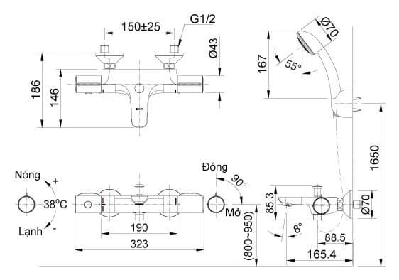 Bản Vẽ Kỹ Thuật Sen Tắm Nhiệt Độ INAX BFV-3413_3C