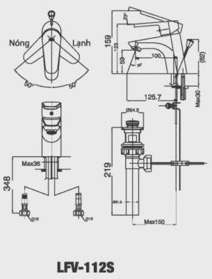 Bản Vẽ Kỹ Thuật Vòi Chậu Lavabo INAX LFV-112S