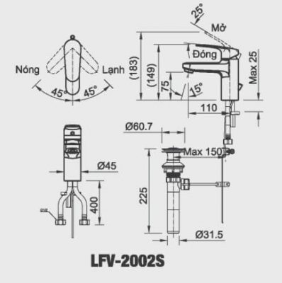 Bản Vẽ Kỹ Thuật Vòi Chậu Lavabo INAX LFV_2002S