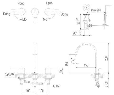 Bản Vẽ Kỹ Thuật Vòi Chậu Lavabo INAX LFV-7100B