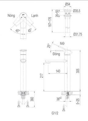 Bản Vẽ Kỹ Thuật Vòi Chậu Lavabo INAX LFV-7100SH