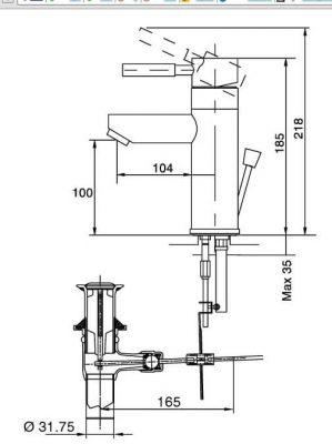 Bản Vẽ Kỹ Thuật Vòi Chậu Lavabo INAX LFV_8000S