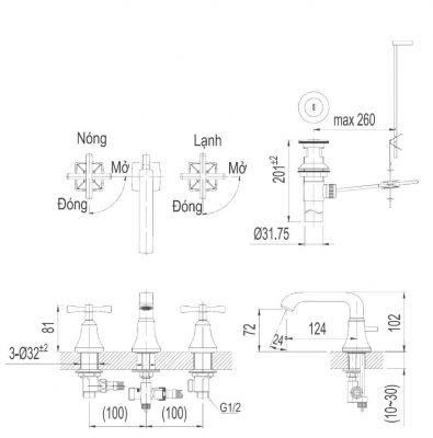 Bản Vẽ Kỹ Thuật Vòi Chậu Lavabo INAX LFV_8100B