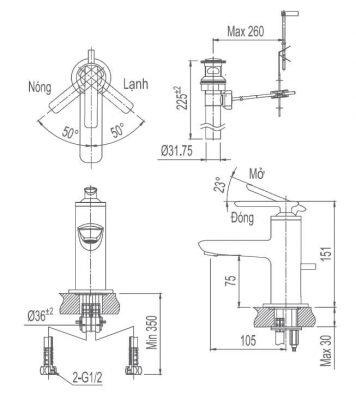 Bản Vẽ Kỹ Thuật Vòi Chậu Lavabo INAX LFV_4102S