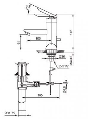 Bản Vẽ Kỹ Thuật Vòi Chậu Lavabo LFV-4001S