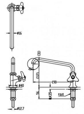 Bản Vẽ Kỹ Thuật Vòi Chậu Rửa Nước Lạnh LF-14-13