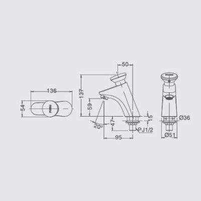 Bản Vẽ Kỹ Thuật Vòi Chậu Tự Động INAX LFV-P02B