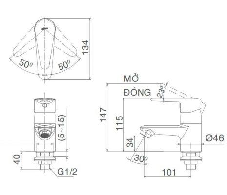 Bản Vẽ Kỹ Thuật Vòi Chậu Lavabo INAX LFV-21S
