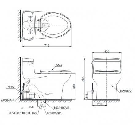 Bản Vẽ Kỹ Thuật Bệt Cầu TOTO 1 Khối MS488T3