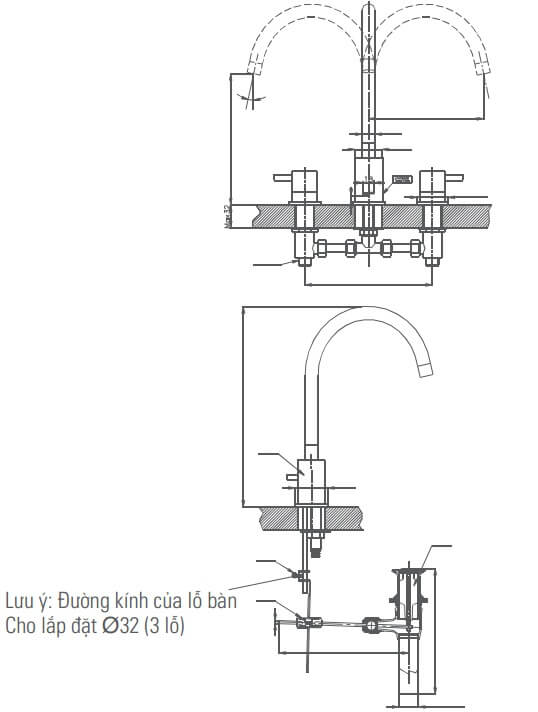 Bản Vẽ Kỹ Thuật Vòi Chậu Lavabo Inax LFV_7000B