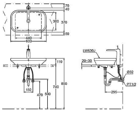Bản Vẽ Kỹ Thuật Chậu Rửa Đặt Bàn LaVaBo ToTo LW630JW/F