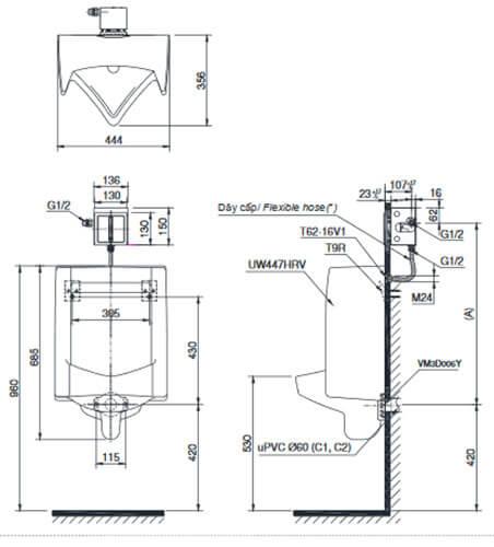 Bản Vẽ Kỹ Thuật Bàn Tiểu Nam Treo Tường UT447HR