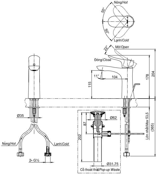 Bản Vẽ Kỹ thuật Vòi LaVaBo TOTO TLG01301V