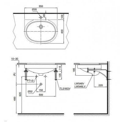 Bản vẽ kỹ thuật chậu rửa ToTo LT546