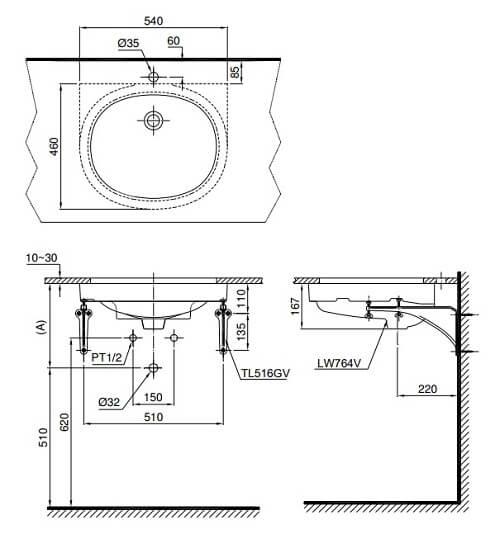 Bản Vẽ Kỹ Thuật Bệ LaVaBo ToTo LT764
