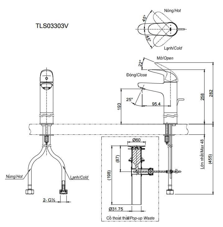 Bản vẽ kỹ thuật Vòi LaVaBo TOTO TLS03303V