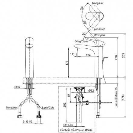 Bản Vẽ Kỹ Thuật Vòi LaVaBo TOTO TLG01304V