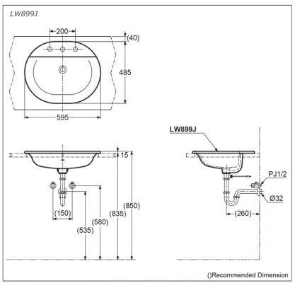 Bản Vẽ Kỹ Thuật Chậu LaVaBo TOTO-LW899JW