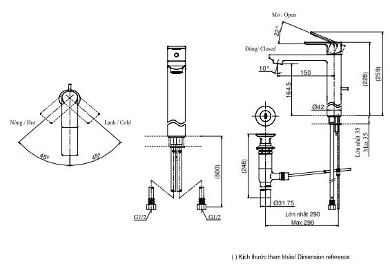 Bản Vẽ Kỹ thuật Vòi LaVaBo TOTO DL368
