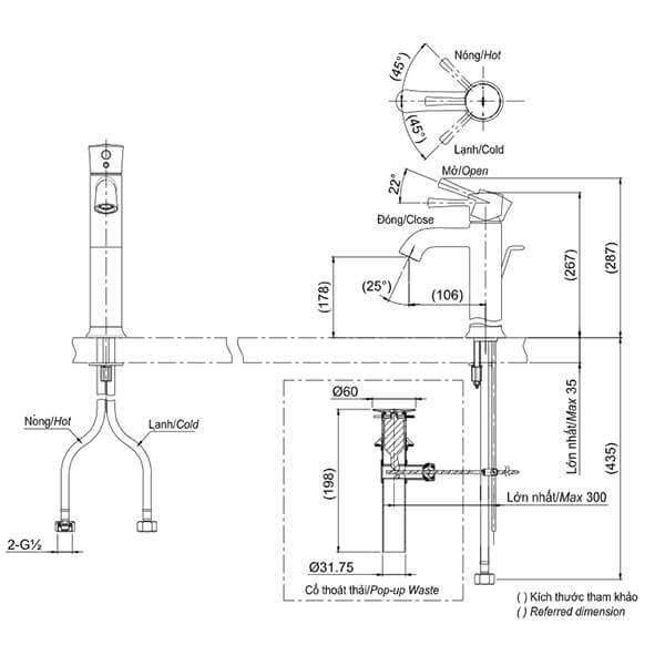 Bản vẽ kỹ thuật Vòi LaVaBo TOTO TLS02303V
