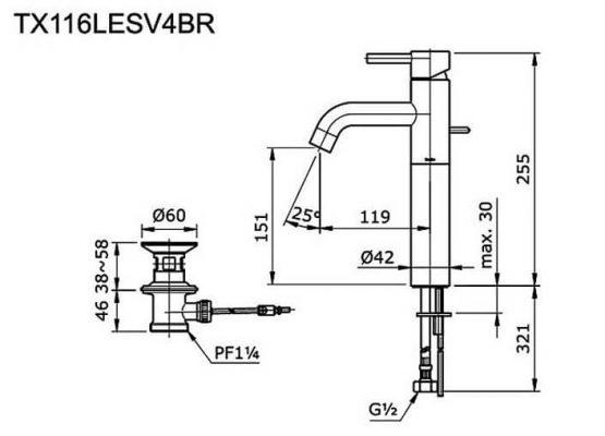 Bản Vẽ Kỹ Thuật Vòi LaVaBo TOTO TX116LESV4BR