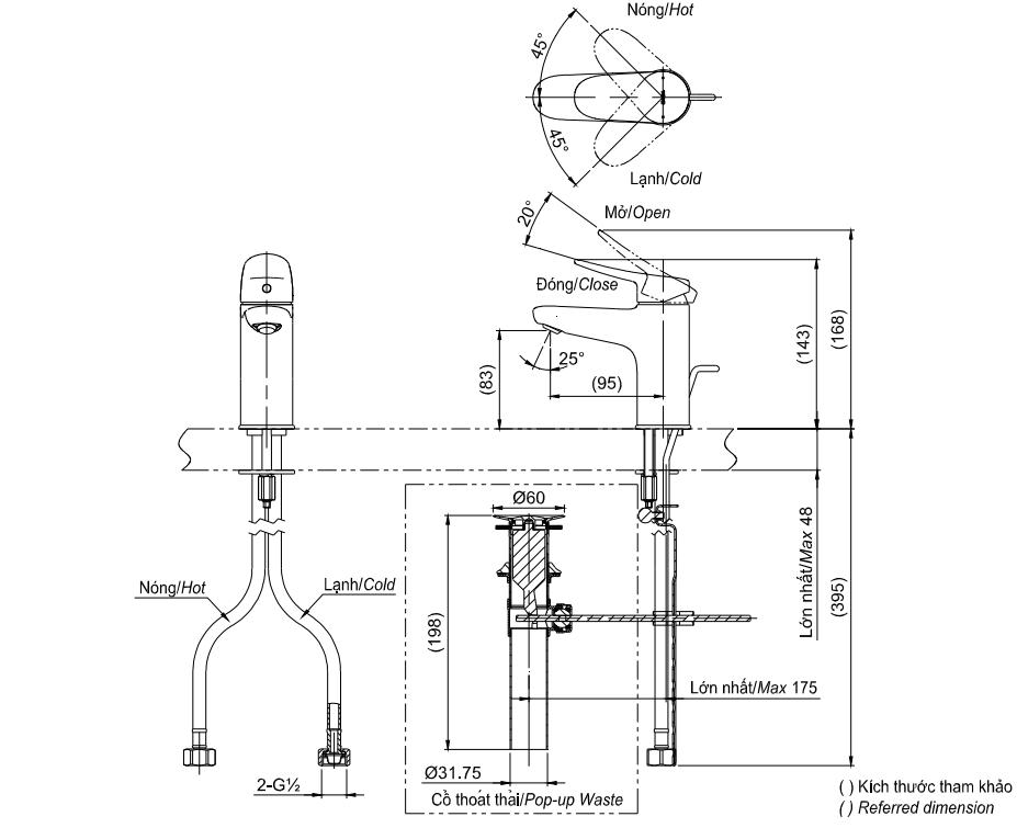 Bản vẽ kỹ Thuật Vòi LaVaBo TOTO TLS04301V