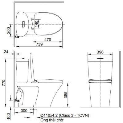 Bản Vẽ Kĩ Thuật Bồn Cầu 2 Khối INAX AC_700VAN