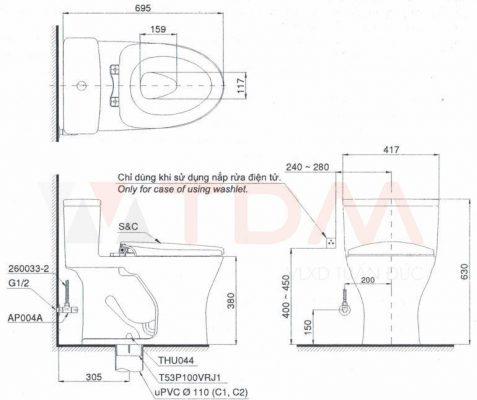 Bản Vẽ Kỹ Thuật Bàn Cầu TOTO MS855DT8