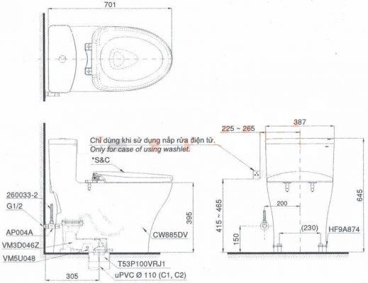 Bản Vẽ Kỹ Thuật Bệt Cầu 1 Khối TOTO MS885DT2