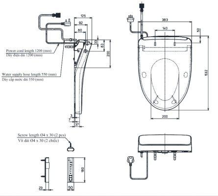 Bản Vẽ Kỹ Thuật Nắp rửa điện tử Washlet TOTO