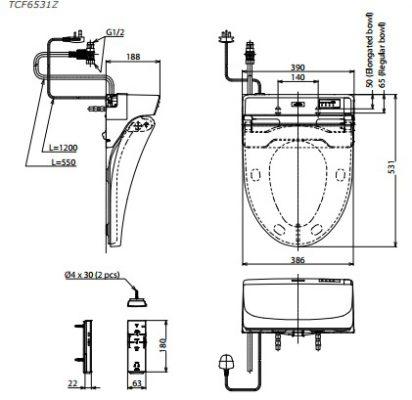 Thông Số Kỹ Thuật Nắp rửa điện tử Washlet (220V) ToTo
